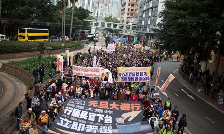 Demonstrators Call For Resignation Of Chief Executive CY Leung In Hong Kong