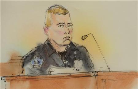 A courtroom sketch shows Aurora Police officer Jason Oviatt giving testimony at a preliminary hearing in Centennial