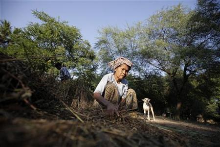 A woman is seen at a village near a copper mine in Sarlingyi township