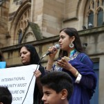 Ms Sarwat Hassan speaking at the Protest