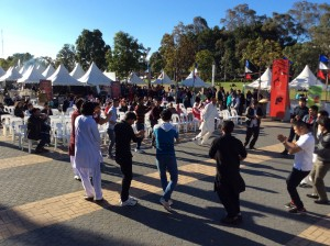 Youth dancing on Afghani fold song at the Eid Festival Sydney OLympic Park
