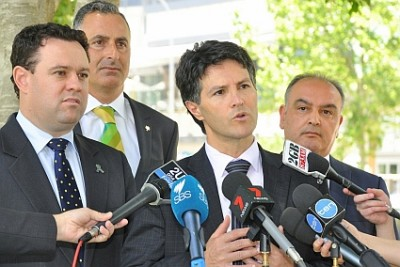 Left to right:  Stuart Ayres, Minister for Police, John Sidoti MP,Member for Drummoyne, Victor Dominello, Minister for Citizenship and Communities and  Hakan Harman, CEO Multicultural NSW