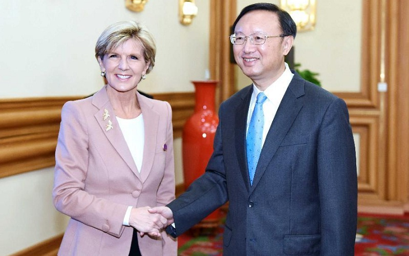 Chinese State Councilor Yang Jiechi with Australian FM Julie Bishop