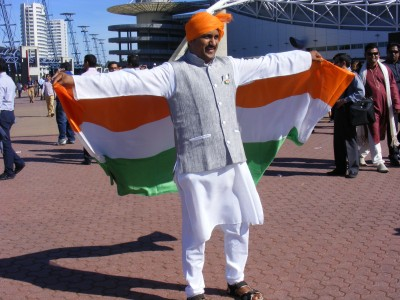 Indians welcoming Modi at Olympic Park, Photo by Tribune International