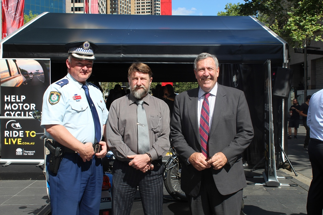 Inspector Phil Brooks NSW Police Force, Chris Burns Motorcycle Council of NSW and Minister Duncan Gay.
