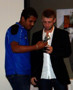 Suffan receiving award in his junior cricket from his club in 2006
