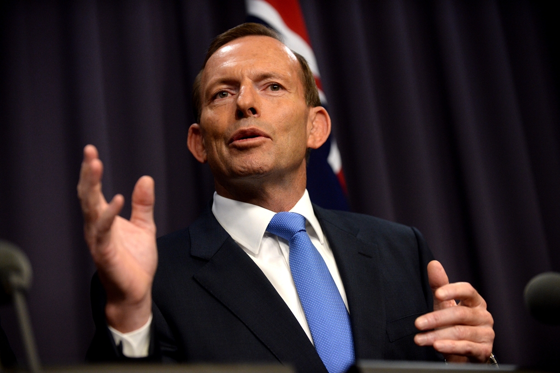 Prime Minister Tony Abbott during a press conference in Canberra, Monday, March, 17, 2014. (AAP Image/Alan Porritt) NO ARCHIVING