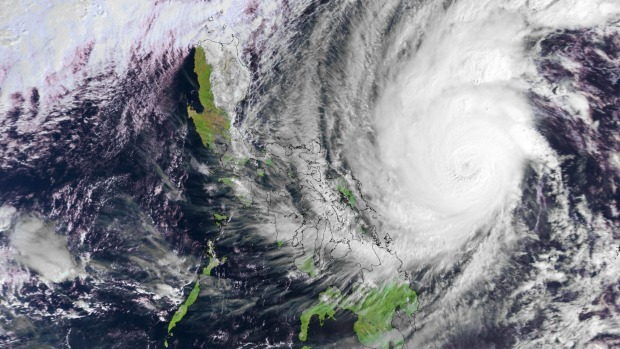A satellite image of Typhoon Hagupit in the western Pacific Ocean.