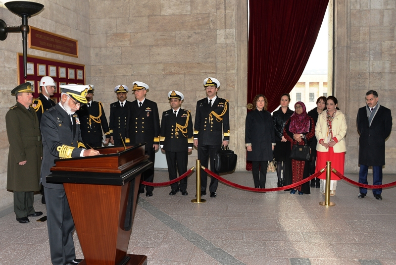 Chief of Naval Staff of Pakistan writing his remarks after laying wreath at the Mausoleum of Mustafa Kemal Ataturk