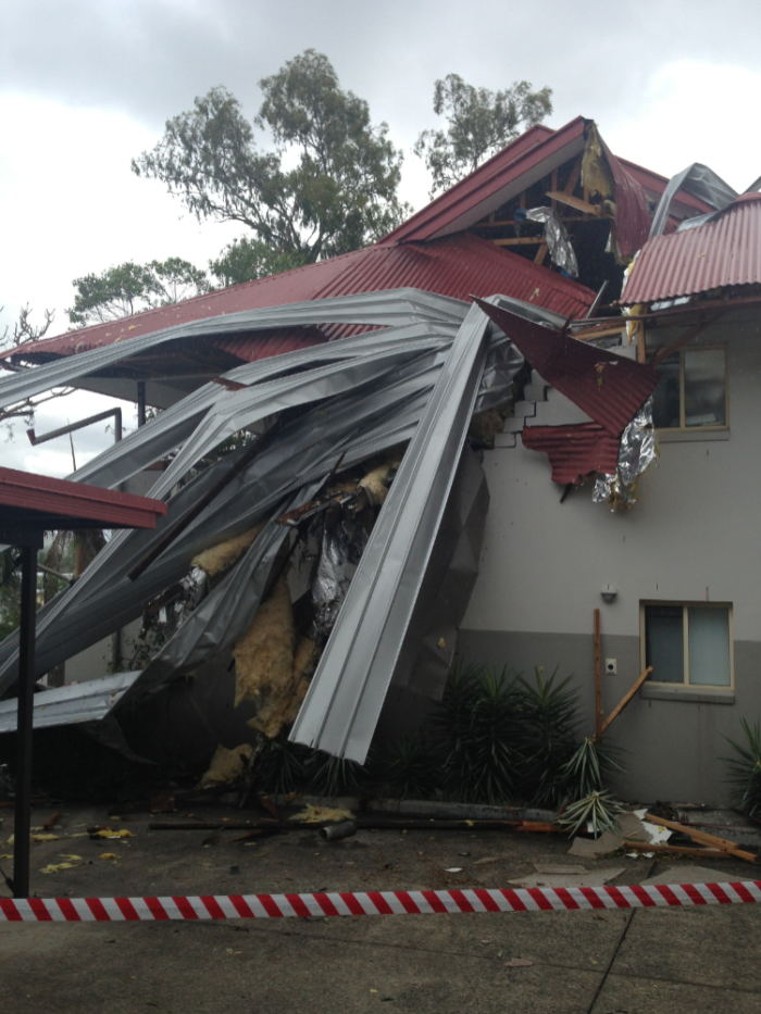 Roof torn from a unit block on Scott Road at Herston