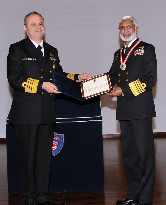 Turkish Naval Chief presenting Legion of Honour of Turkish Armed forces to Pakistan Naval Chief