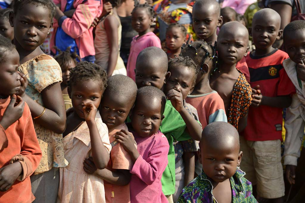 Displaced children in Bangui, capital of the Central African Republic.