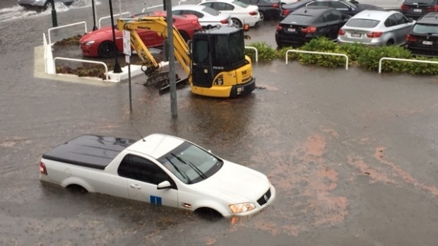 Flooding at Constance Street, Fortitude Valley. Photo: Akash Sethi