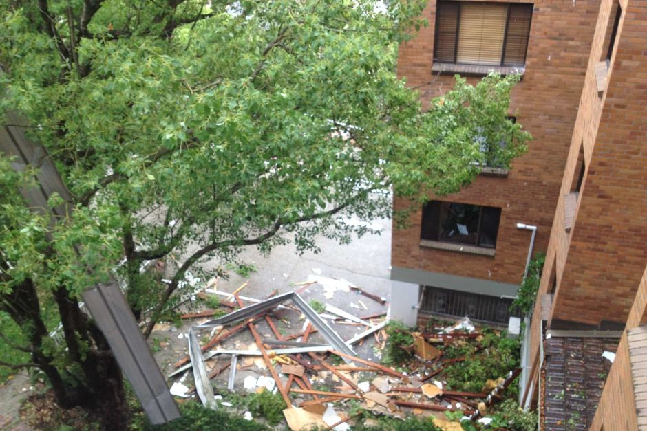 Storm debris is seen from a unit building in Toowong, in Brisbane's inner west. ABC Photo: Andree Withey
