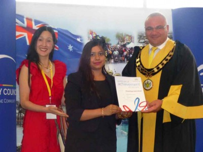 Ms Sarwat Hassan received achievement award 2014 for CREF 2014 for Mayor of Auburn City Council (Photo by Tribune)