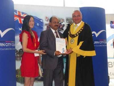 Syed Atiq ul Hassan received achievement award 2015 from Mayor of Auburn City Council