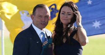 Juliette Wright with PM Abbott at the ceremony on Sunday.