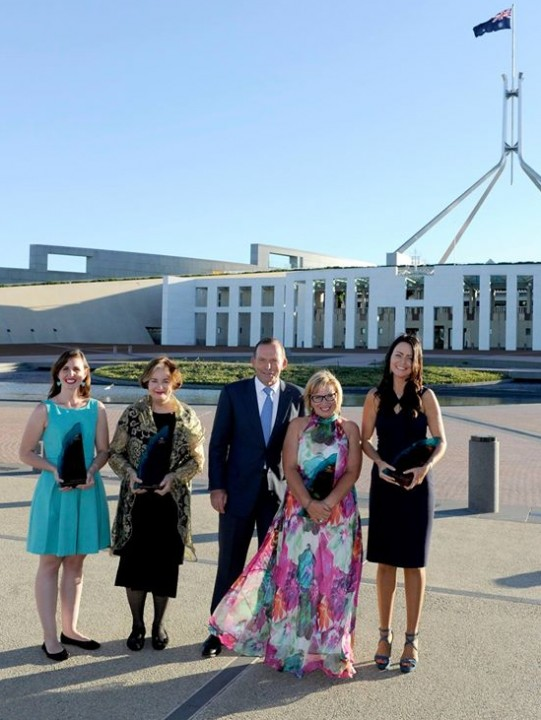 Prime Minister Tony Abbott with all four winners of top Australia Day Awards in Canberra on Sunday. Photo: Facebook