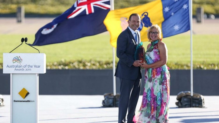 Prime Minister Tony Abbott and Australian of the Year Rosie Batty in Canberra on Sunday. Photo by Peter Williams