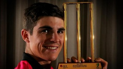 Sean Abbott with his Sir Donald Bradman Young Cricketer of the Year Trophy. Source: News Corp Australia