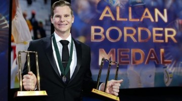 Steve Smith with the Allan Border Medal and the Test and ODI player of the year awards. Photo- Getty Images