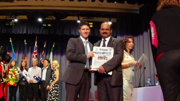 Tribune Chief Editor, Syed Atiq ul Hassan with the Minister Victor Dominello, at Ryde Civic Centre Australia Day function (26 Jan 2015; 11.30am)