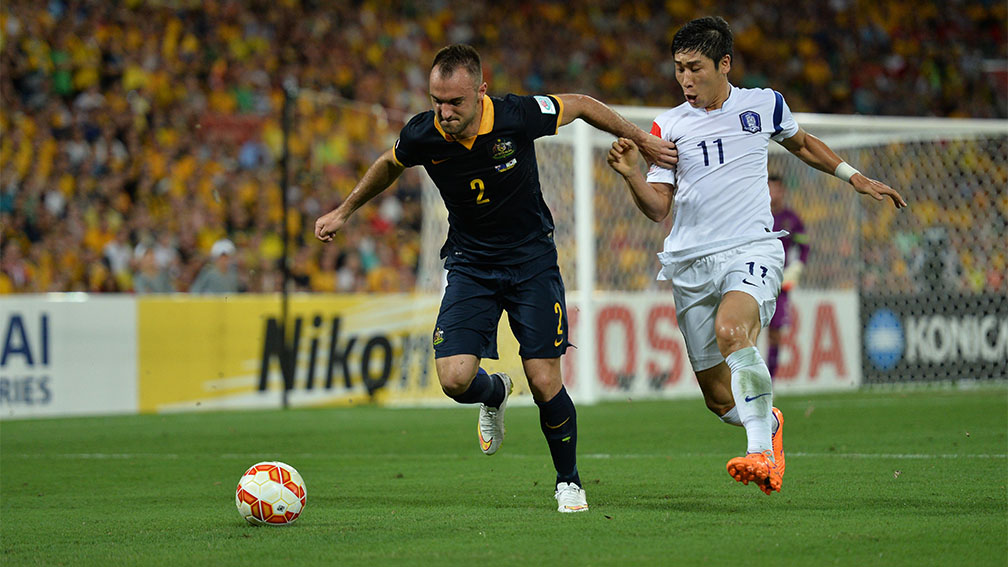 A scene from Australia v Korea Republic group match in which the Taeguk Warriors defeated the Socceroos 1-0 in Brisbane.