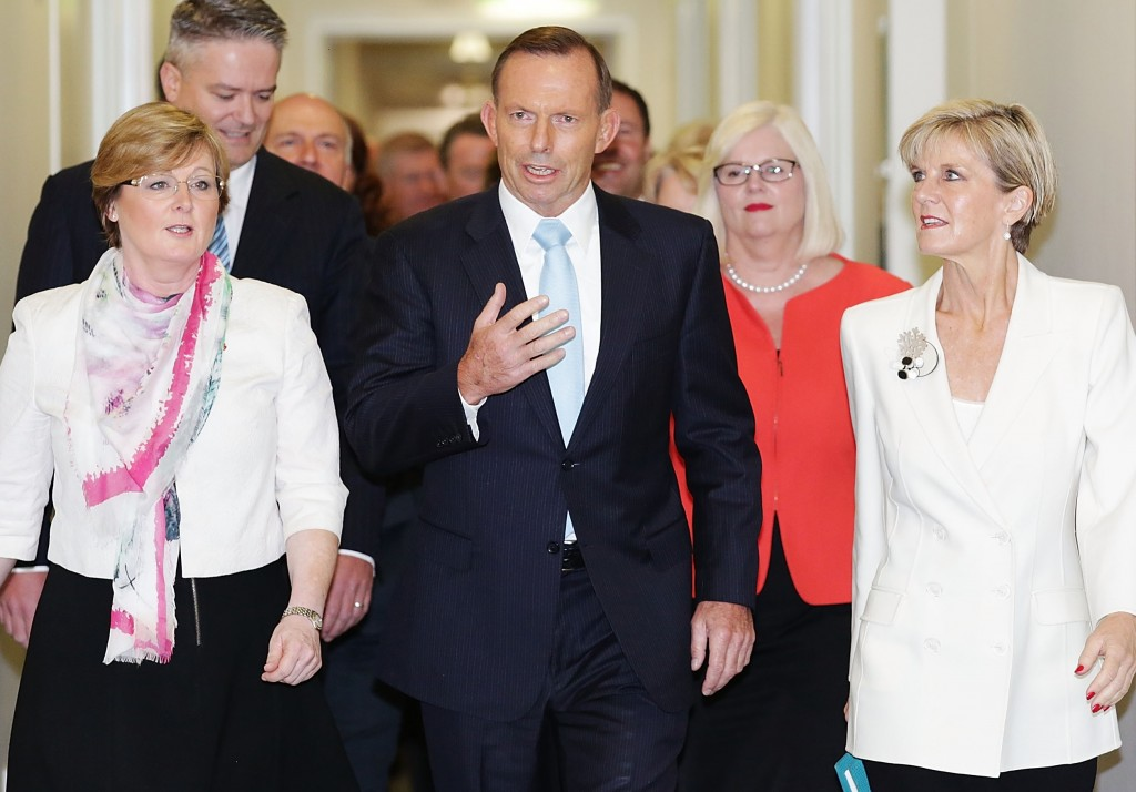 Abbott with members of his front bench today. Photo: Getty