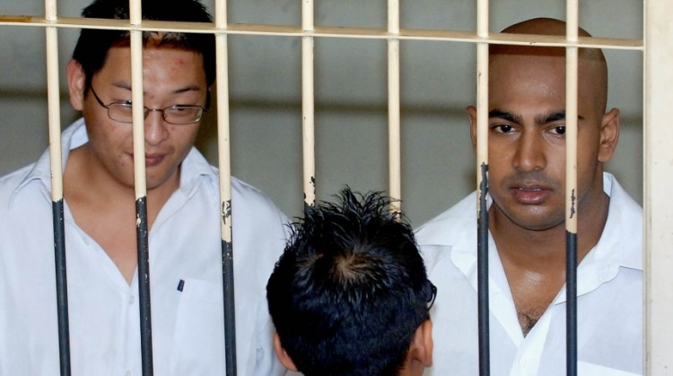 Andrew Chan and Myuran Sukumaran in a cell in Denpasar, Bali. Photograph: Jewel Samad/AFP/Getty Images