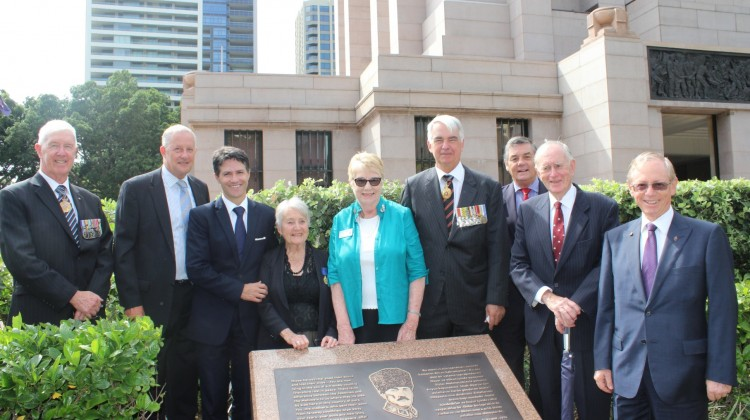 Minister Dominello and NSW Centenary of Anzac Ambassadors at Hyde Park behind the Ataturk plaque.