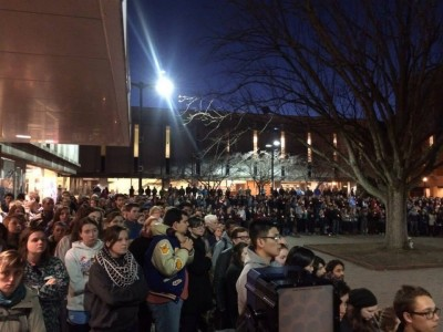 People gather at UNC-Chapel Hill to mourn Deah Shaddy Barakat, his wife Yusor Mohammed and her sister Razan Mohammed Abu-Salha in Chapel Hill, N.C., on Feb. 11, 2015.