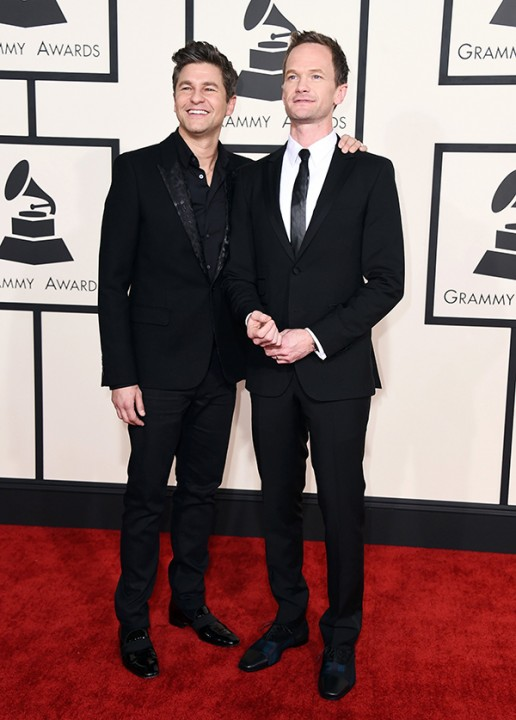 David Burtka, left, and Neil Patrick Harris arrive at the 57th annual Grammy Awards at the Staples Center on Sunday, Feb. 8, 2015, in Los Angeles. (Photo by Jordan Strauss/Invision/AP)