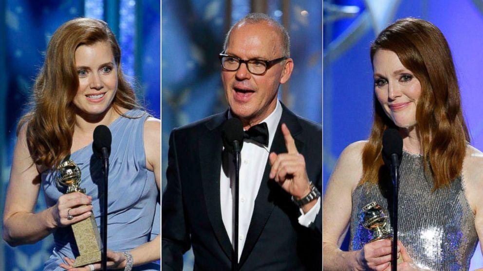Julianne Moore, Michael Keaton and Amy Adams at Golden Globe
