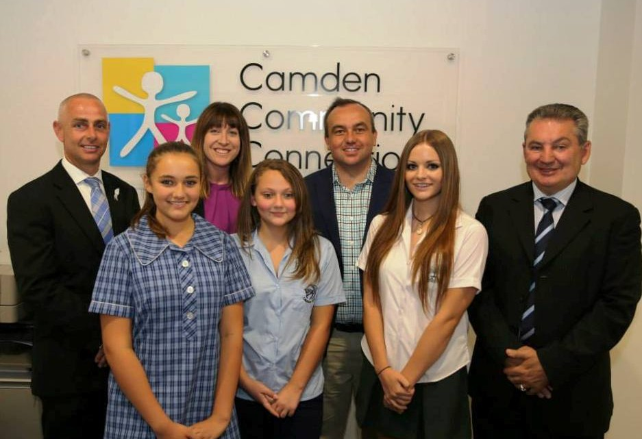 Health service boost: Camden MP Chris Patterson, Youth Action NSW managing director Katie Acheson, Wollondilly MP Jai Rowell and Macarthur MP Russell Matheson with students Bree Cornish, 16, from Mount Annan High School, Danielle Rose, 14, from Camden High School, and Elle Morrish, 14, from Camden High School, who reccently completed a girls group program. Picture: Facebook