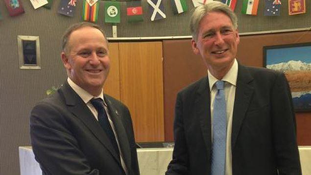 Foreign Secretary Philip Hammond (L) met with New Zealand Prime Minister John Key. Photo: Laura McQuillan