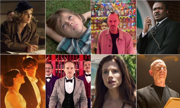 best picture nominations, clockwise from top left: The Imitation Game, Boyhood, Birdman, Selma, Whiplash, American Sniper, The Grand Budapest Hotel and The Theory of Everything. Photo: Rex/Allstar