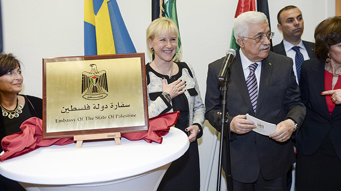 Palestinian President Mahmoud Abbas (C, right) speaks next to Swedish Foreign Minister Margot Wallstrom (C) during the inauguration of the Embassy of Palestine in central Stockholm February 10, 2015. (Reuters/Fredrik Sandberg)