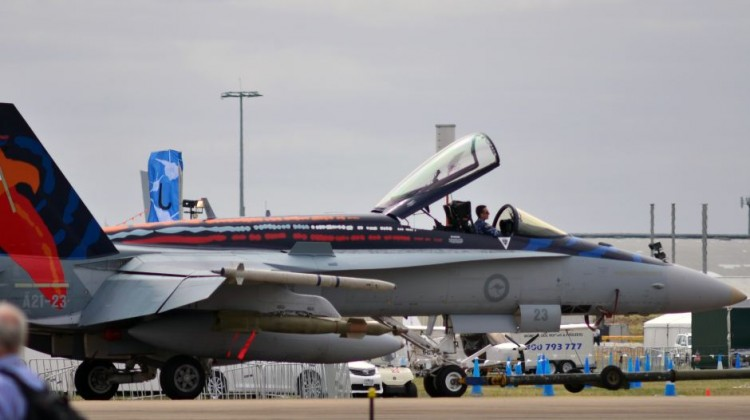 The Worimi F/A-18A Hornet bearing an Indigenous design paint scheme. Photo by ABC News: Cameron Best
