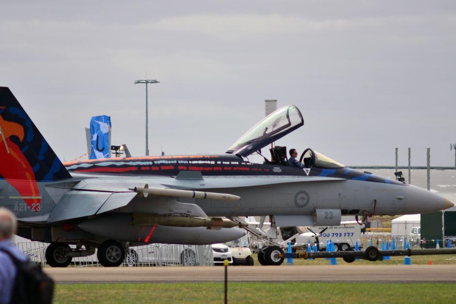 The Worimi F/A-18A Hornet bearing an Indigenous design paint scheme. Photo by ABC News: Cameron Best