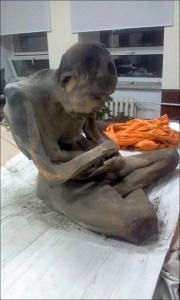 The mummified monk is sitting in a lotus position. (The Siberian Times)