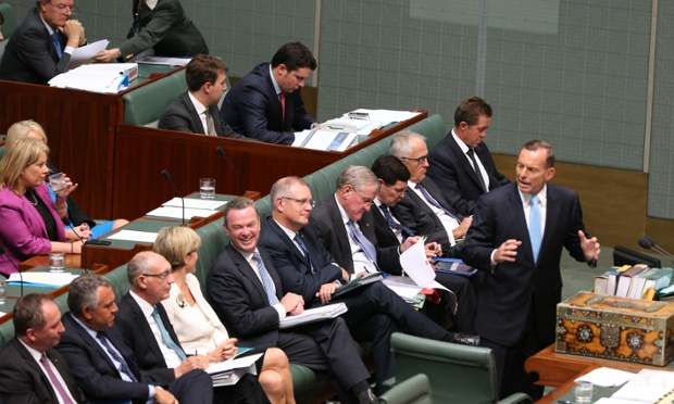 Tony Abbott during question time on Monday afternoon on Monday, February 9. Photograph: Mike Bowers