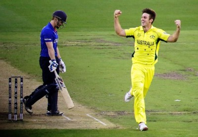 Mitchell Marsh of Australia celebrates after taking a wicket during the 2015 ICC Cricket World Cup match between England and Australia at Melbourne Cricket Ground on February 14, 2015 in Melbourne, Australia. (February 13, 2015 - Source: Shaun Botterill/Getty Images AsiaPac)