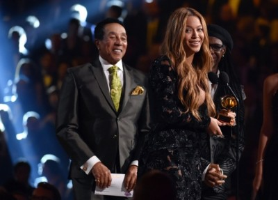 Smokey Robinson, left, presents Beyoncé with the award for best R&B performance for Drunk in Love, which also picked up best R&B song. Photograph: John Shearer/John Shearer/Invision/AP