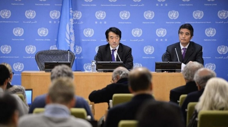 Yasuhisa Kawamura, press secretary of Japan's Ministry of Foreign Affairs, speaks during a press conference at the UN headquarters in New York, on Feb. 5, 2015. (Xinhua/Niu Xiaolei)