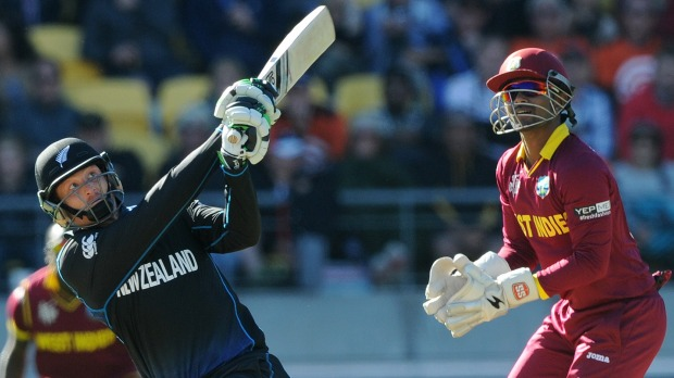 New Zealand's Martin Guptill hits the ball for yet another six in Wellington. Photo: Ross Setford
