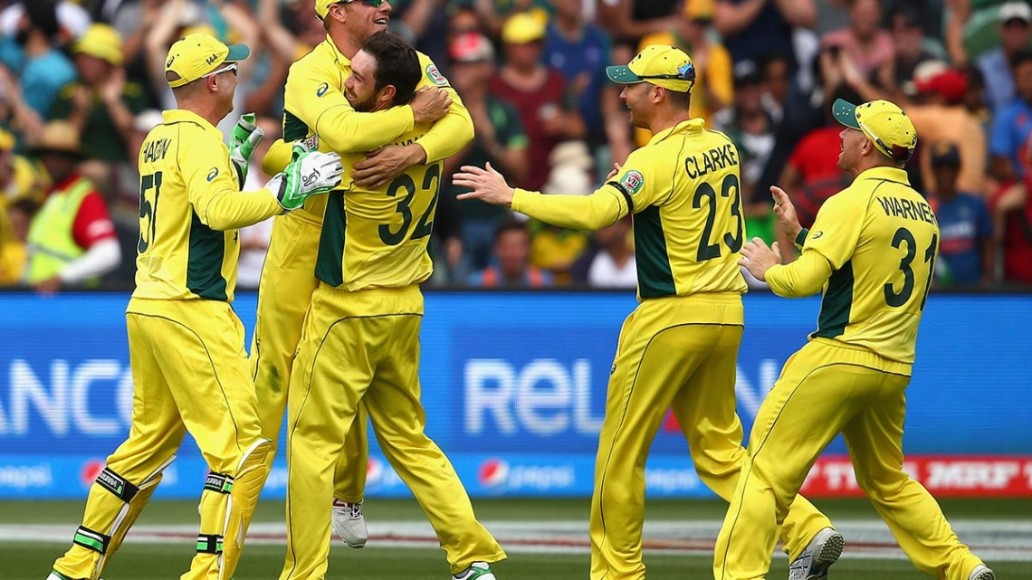 Australia celebrating win against Pakistan as they reach the Cricket World Cup semi-finals.