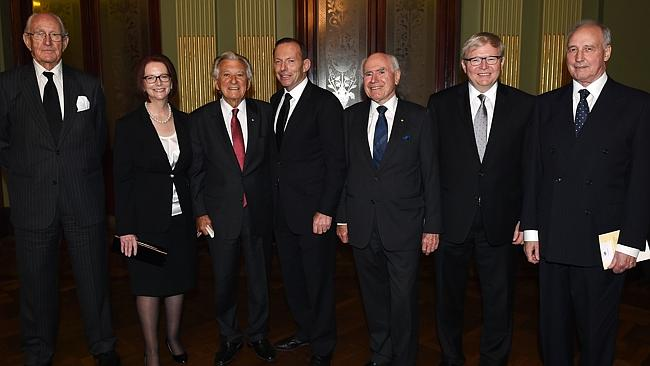 Malcolm Fraser, far left, with other prime ministers Julia Gillard, Bob Hawke, Tony Abbott, John Howard, Kevin Rudd and Paul Keating at the memorial service for Gough Whitlam last year, 2014.
