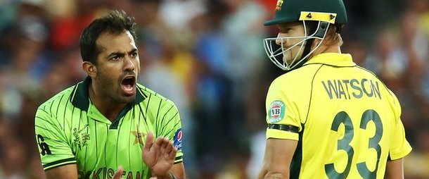 Wahab Riaz intimidated Shane Watson with short-pitched bowling in a fiery spell