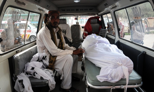 An ambulance carries the body of Muhammad Afzal, a convicted murderer, who was hanged in Karachi, Pakistan, on 17 March 2015. Photograph: Shahzaib Akber/EPA