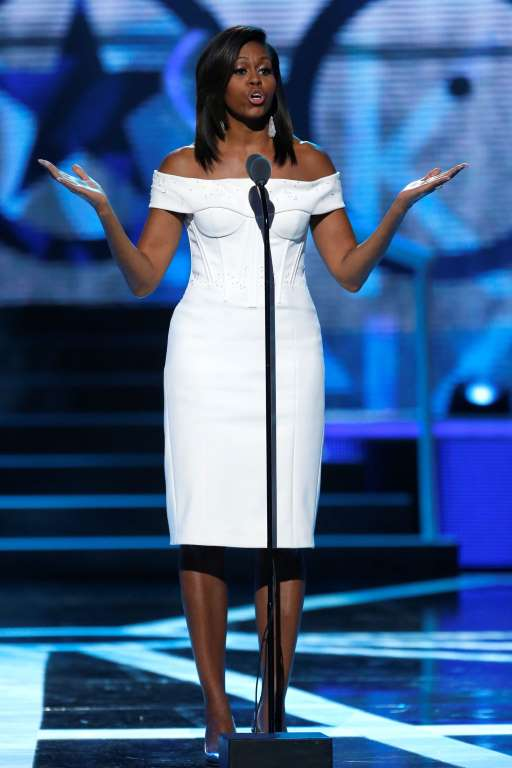 AP Photo/Julio Cortez United States First Lady Michelle Obama speaks during a taping of the Black Girls Rock award ceremony at the New Jersey Performing Arts Center. Photo: AP Photo/ Julio Cartez
